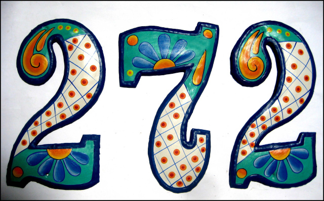 "Painted Metal Address Numbers. House Numbers - 7 1/2"" high"