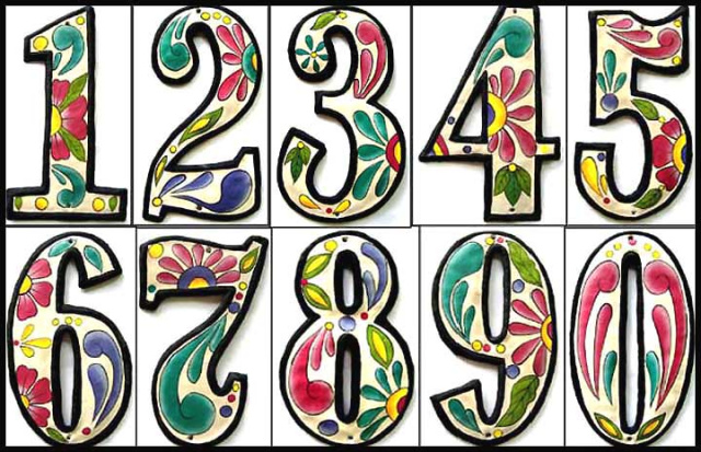Painted metal address house numbers - Steel drum art of Haiti