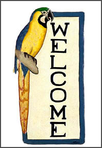Hand painted metal welcome sign. tropical decor  Parrots - Blue and gold macaw