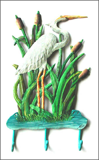 Painted metal white egret wall hook
