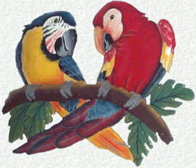 Painted metal macaw parrots