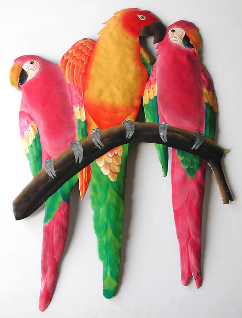 Painted metal parrot wall hanging