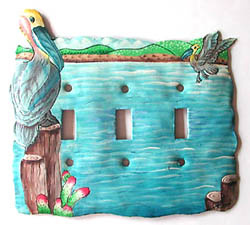 Painted metal rocker switchplate cover - Pelican design