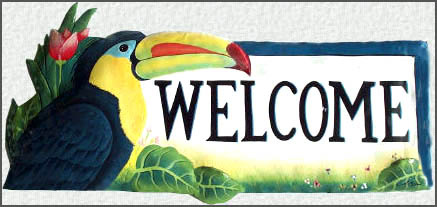 Hand painted metal welcome sign. tropical decor  Parrots - toucan