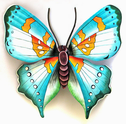 - Hand painted metal butterfly decor from Tropic Accents