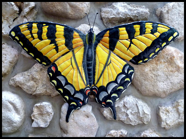 Painted metal Swallowtail butterfly wall hanging. Metal art