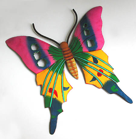 Hand Painted Green & Pink Butterfly - Caribbean Steel Drum Art - Outdoor decor