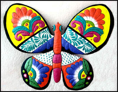 Large Painted Metal Butterfly Wall Hanging - 29
