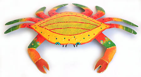 Hand painted metal crab wall hanging - Outdoor decor - Hand cut from Haitian steel drum