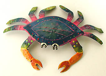Blue-Pink-Green Hand Painted Crab Wall Hanging - Metal Garden Art 15
