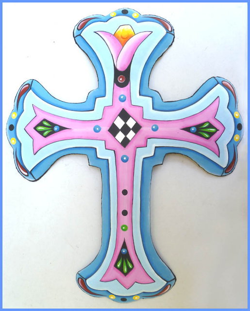hand painted metal cross wall art - Christian gift