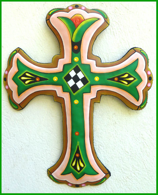 Painted metal cross wall decor, Handcrafted cross, Christian wall hanging - 12 1/2""