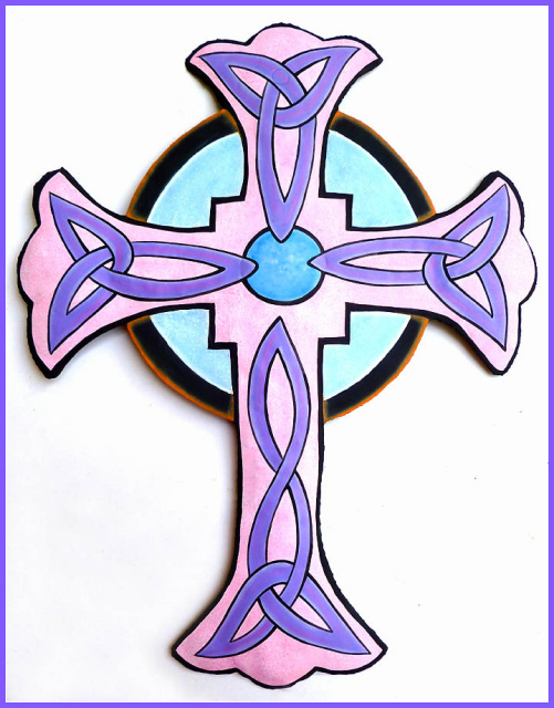 Hand painted metal cross wall hanging, Christian cross design, Christian Gift - 12 1/2""