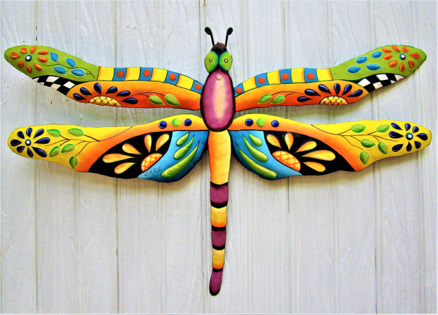 painted metal dragonfly wall hanging