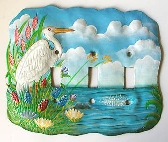painted metal egret switchplate