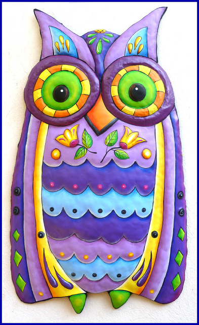 Hand Painted Metal Owl Wall Hanging