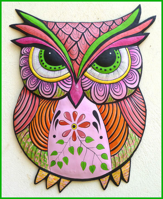 painted metal owl wall hanging