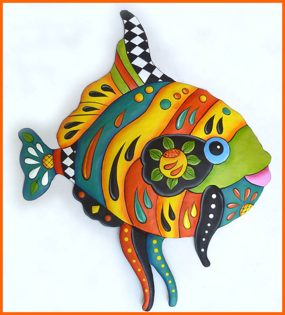 Tropical Decor - Hand painted metal tropical fish wall decor