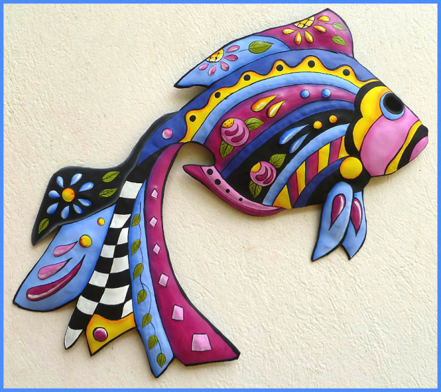 painted metal tropical fish wall art