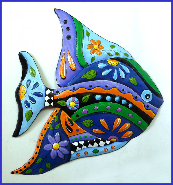 "Painted Metal Tropical Fish Wall Hanging in Bright Colors - 21"" x 25"""