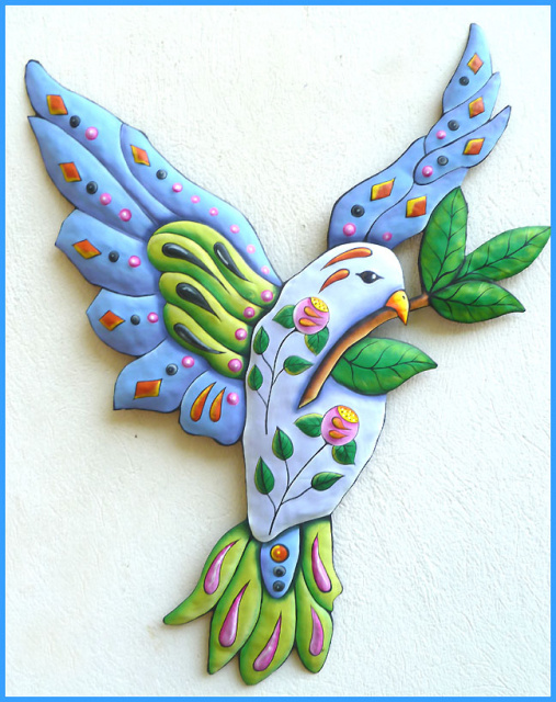 painted metal blue dove wall hanging