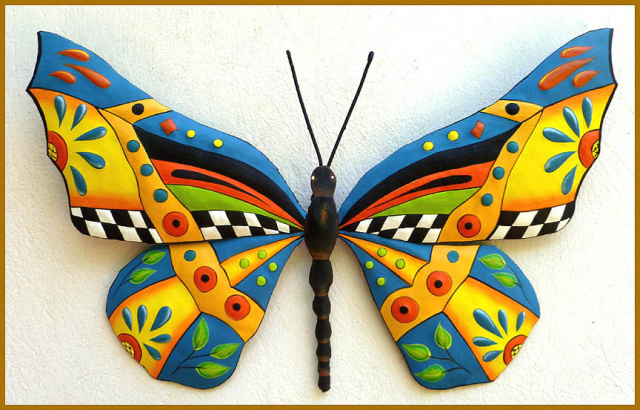 Butterfly Wall Art - Painted Metal Butterfly Wall Hanging