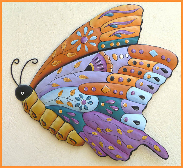 hand painted metal butterfly wall hanging