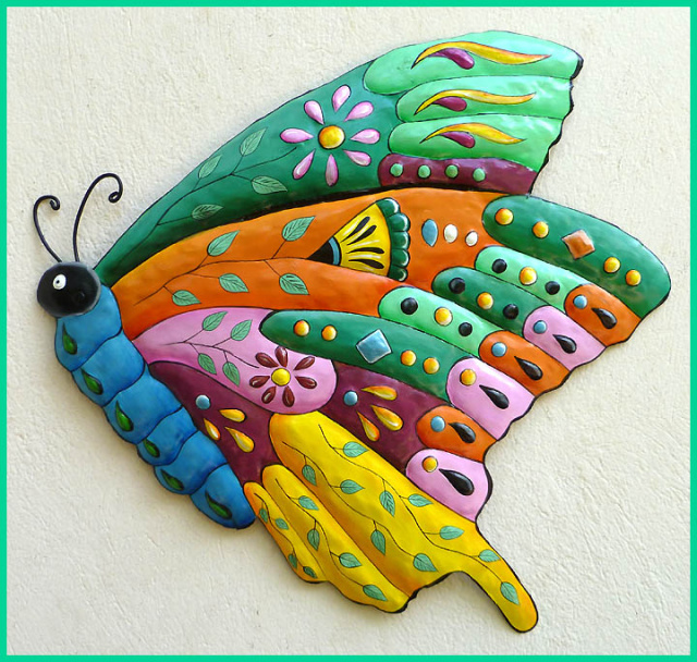 butterfly painted metal wall decor - garden decor