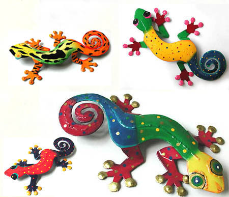 4 Geckos - EX Large, Large, Medium & Small - Assortment of hand painted metal gecko wall hangings.
