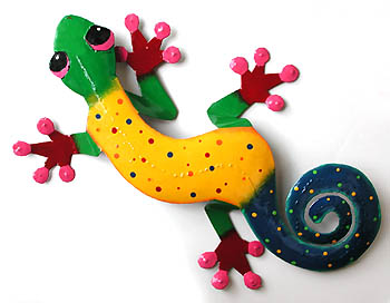 "Large Yellow & Green Decorative Metal Gecko Wall Decor - 19"" x 30"""