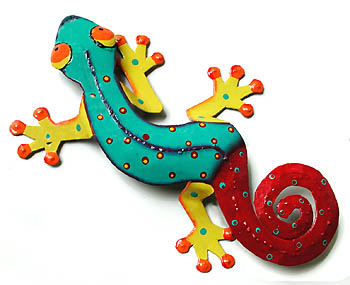 Painted Metal Gecko Wall Hanging - Tropical Garden Decor - 30""