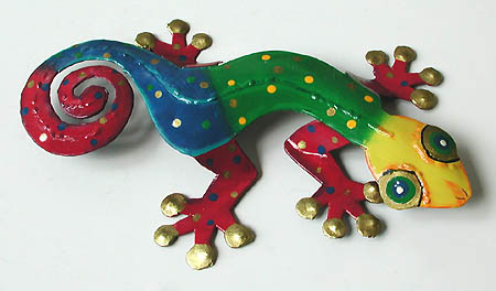 "Colorful Handpainted Gecko Wall Accent - Caribbean Steel Drum Art - 8""x13"""