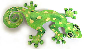 "Handcrafted Green Spotted Gecko Art - Haitian Metal Art - 11""x18"""