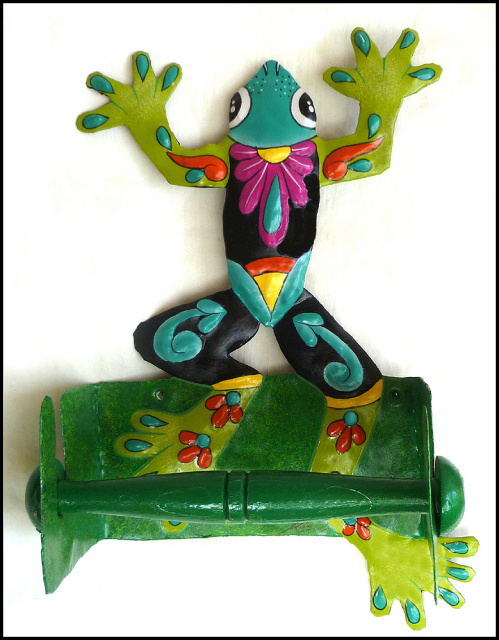 Hand painted metal toilet paper holder - frog