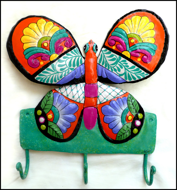 Butterfly wall hook. painted metal bathroom decor