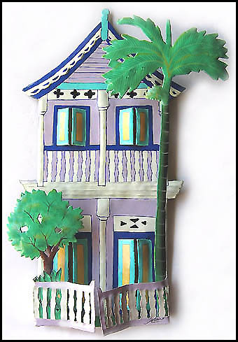 Hand Painted Metal Lilac Caribbean House Wall Hanging - Tropical Decor - Haitian Crafts