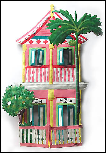 Pink 2 Story Tropical House Wall Hanging - Haitian Metal Handcrafted Art