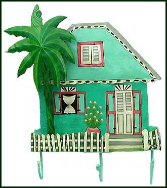 Caribbean house hook. Painted metal