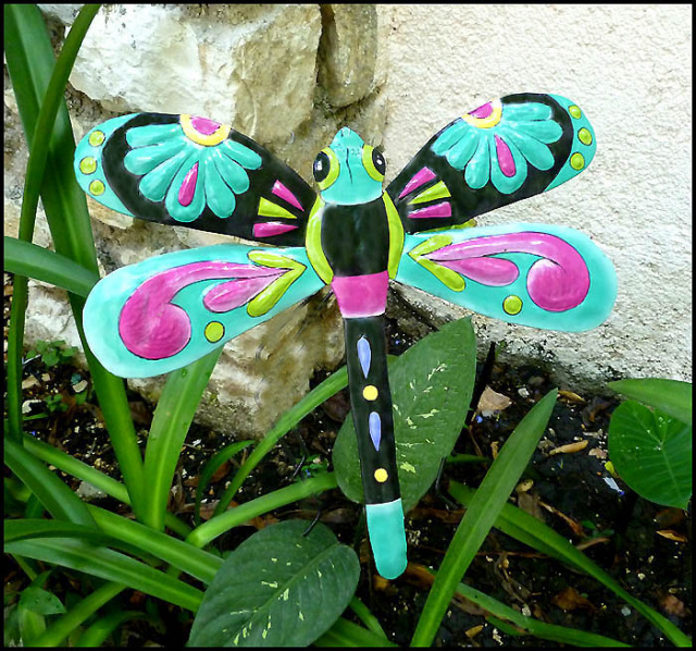 painted metal plant stake - dragonfly