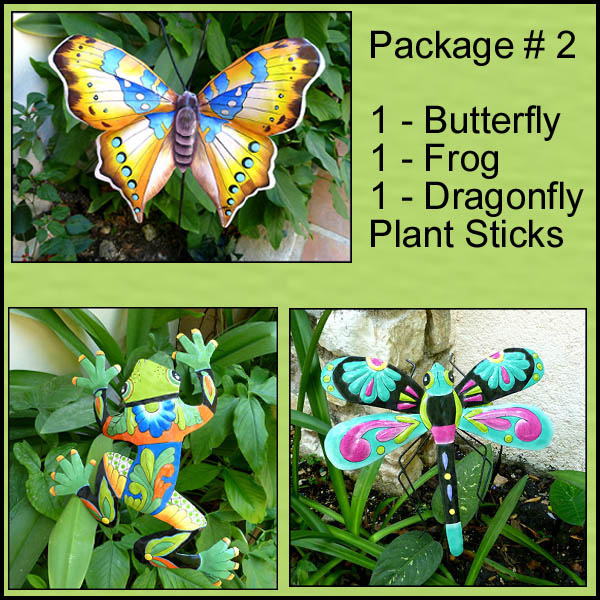 Butterfly plant stakes - Hand painted metal garden decor