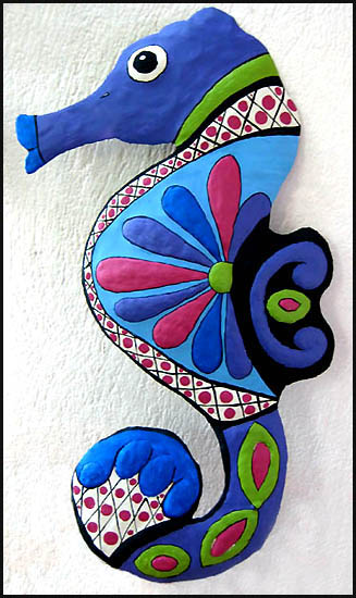 Painted metal seahorse - Haitian steel drum painted art - talavera style