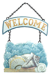 Hand painted metal shell welcome sign.  - Painted metal shell- Haitian steel drum painted art