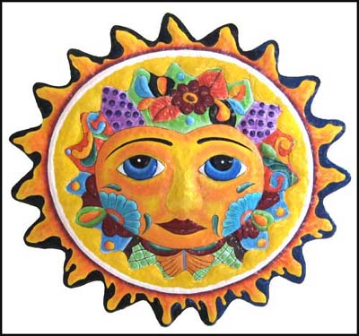 Painted metal sun wall hanging - Haitian metal art