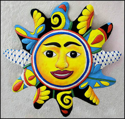 "34"" x 34"" Large Blue & Yellow Sun Design Painted Metal Wall Hanging"
