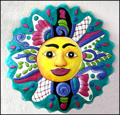 Hand Painted Metal Turquoise & Magenta Sun Wall Art