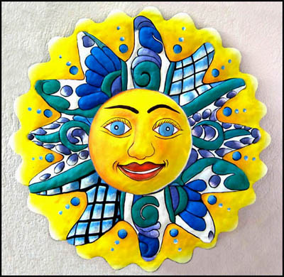 Sun Design Painted Metal Wall Hanging - Haitian metal art.