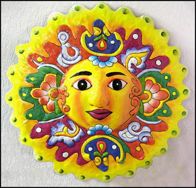 "34"" x 34"" Large Yellow Sun Design Painted Metal Wall Hanging"