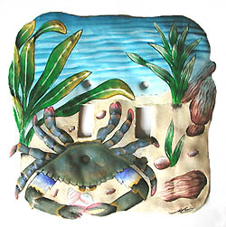 Blue crab switchplate - Hand painted metal