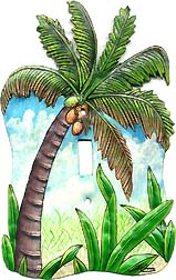 Painted metal Coconut tree switch plate cover