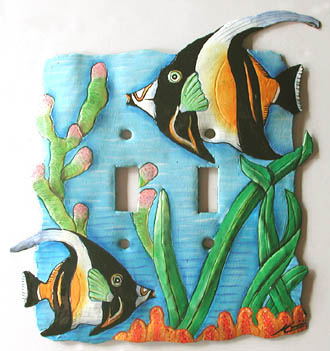 Painted Metal Light Switchplate - Tropical fish design